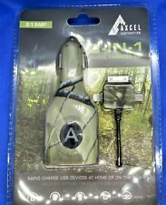DUAL USB to AC/DC TRAVEL CHARGER KIT w/30-PIN, LIGHTENING& MICRO USB CABLE -CAMO