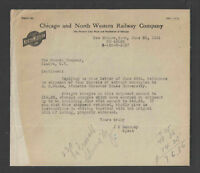 1921 CHICAGO and NORTH WESTERN RAILWAY COMPANY RAILROAD LETTERHEAD
