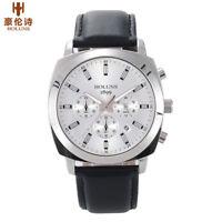 HOLUNS Luxury Men Military Quartz Watch Leather Band 50m Waterproof Luminous