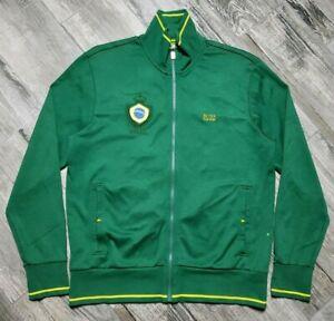 Hugo Boss Brazil Skaz Flag Track Jacket Full Zip Men's Large Green Embroidered