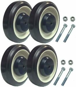 """Set of 4 Replacement Shopping Cart Caster Wheels with Hardware 5"""" Diameter"""