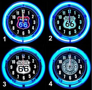"ROUTE 66 SHIELDS - 11"" Blue Neon Wall Clocks - with 4 -(FOUR) Different Designs!"