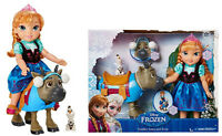 """Disney's Frozen 14"""" Toddler Anna Doll & Sven + Olaf Figure Gift Play Set Kid Toy"""
