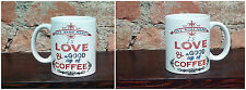 Tazza Mug ceramica bianca all you need is love a good cup of coffee  TZG012