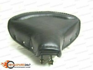 ROYAL ENFIELD BLACK LEATHER FRONT SOLO SEAT WITH CHROME SPRINGS COMPLETE