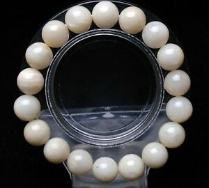 11.5mm Natural Burma Moonstone Round Beads Bracelet AAAA