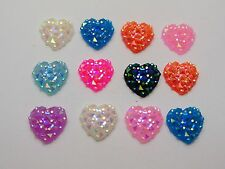 100 Mixed Color Flatback Resin Heart Cabochon Gem 12mm Pyramid Dotted Rhinestone