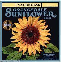 Orange Citrus Fruit Crate Label Art Print Sunflower Valencias RedLands Ca