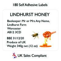 180 Honey Jar labels preserve jam jar beehive sign personalised sticker Uk sales