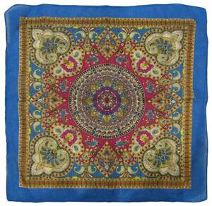 "Wholesale Lot of 6 Paisley Mosaic Multi Color Blue 100% Cotton 22""x22"" Bandana"