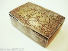 Persian SNUFF BOX very old etched iron? ROUGHLY HEWN praying HAND MADE