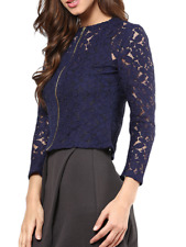 Women Navy Blue Laced Top