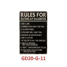 Metal Tin Sign Warning Dad's Rule Dating My Daughter Wall Home Decor Yard Poster