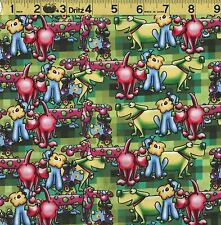 """FURRY FACES CARTOON DOGS Fabric 100% Cotton Print Concepts LAST PIECE 1 YD + 17"""""""