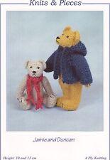 2 MINIATURE TEDDY BEARS Jamie & Duncan TOY KNITTING PATTERN by Sandra Polley