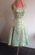 VINTAGE ORIGINAL 50s/60s COCKTAIL DRESS  FREDERICA STARKE of LONDON - GREEN/GOLD