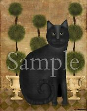 Primitive Folk Art Black Cat Topiary Laser Print 8x10 By Beth Albert