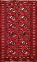 Wool 4x6 Bokhara Oriental Area Rug Hand-Knotted Geometric Traditional Carpet