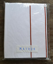 Matouk Ansonia White & Rust Red Full Queen Flat Sheet Embroidered Percale