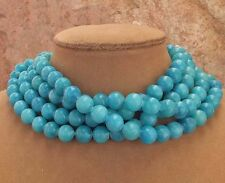 COLORBLOCKING TURQUOISE AQUA BLUE GENUINE JADE CHUNKY JEWELRY 4STRAND NECKLACE