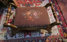 Vintage Wood Needlepoint Foot Stool Curved Wood Arm Pink Roses