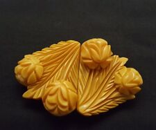 Bakelite butterscotch amber deep carved ornate belt buckle