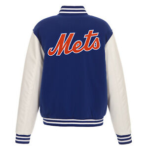 MLB New York Mets Reversible Fleece Jacket PVC Sleeves Embroidered Logos