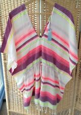 f8d86c4c99 Primark Atmosphere Sze Small Beach Cover Up Neon Striped BNWT tassel Cotton  Pink