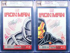 IRON MAN (2013 Marvel) KEN HAESER L & R connected sketch covers sig STAN LEE!!