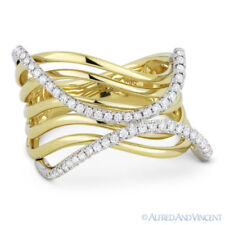 Yellow & White Gold Swirl Fashion Ring 0.35 ct Round Cut Diamond Right-Hand 14k