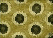 Modern Contemporary Geometric Ikat Circles gray & golden Tan  Upholstery Fabric