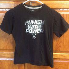 NIKE BOYS Black T-SHIRT SZ YM YOUTH M Medium Punish With Power Football