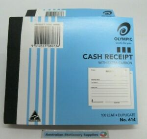 20 x Olympic #614 - Cash Receipt Book with extra carbon 100 leaf Duplicate (SHD8