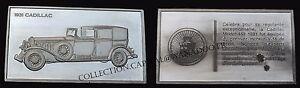 """Lingot Argent 1er Titre Cadillac Collection """"100 ans de l'Automobile"""""""