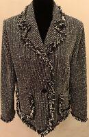 Vintage Carlucci Womens Art Deco Blazer Large Black White Fringe Accents Lined