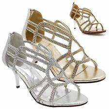 Ladies Diamante Mid Kitten Heel Sandals Womens Strappy Bridal Party Prom Shoes