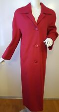 Vintage, ALORNA, 100% Wool, Red, Full Length, Button-down Coat (Size Large)