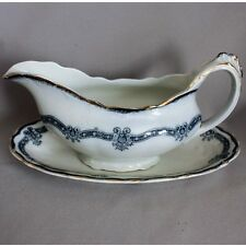 Antique Vtg STANLEY OSTEND POTTERY GRAVY BOAT UNDERPLATE FLOW BLUE England