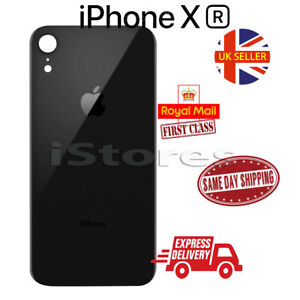 For iPhone XR Back Rear Glass Housing Battery Cover Replacement Big Hole - Black