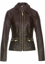 Frauen Premium Lederimitat-Jacke mit Nieten, 727843 in Dunkelbraun 52