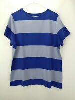 Isaac Mizrahi Live! Rugby Striped Knit T-shirt Ink Blue L A278275