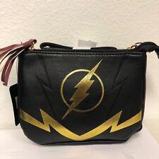 The Flash Crossbody Bag Purse Zippered Black DC Comics Lightning Bolt Tassel A3