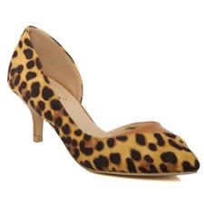 Unze London Womens UK 5 EU 38 Gold Cheetah Print Pointed Mid Heel Court Shoes