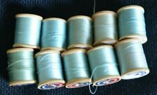 Coats & Clark's Wooden Spool Light Blue Thread Vintage Mercerized Sewing Lot 10