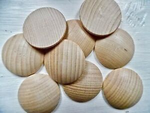 40mm  beech wood domed discs, coins, counters, peg doll accessories