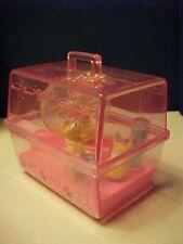 Vintage Barbie Doll Size Pink wind up gerbil cage + 3 gerbils