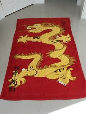 Extra Large Chinese Dragon Beach Towel  Soft 100% Cotton Velour  Gold & Red