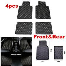 Universal 4pcs Durable Easy Clean Black/Beige Line PU Leather Car Floor Mats
