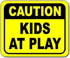 Caution kids at play Bright yellow metal outdoor sign