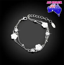 Whoslae 18K White Gold Filled Women's multilayer Lovely Flower Charm Bracelet